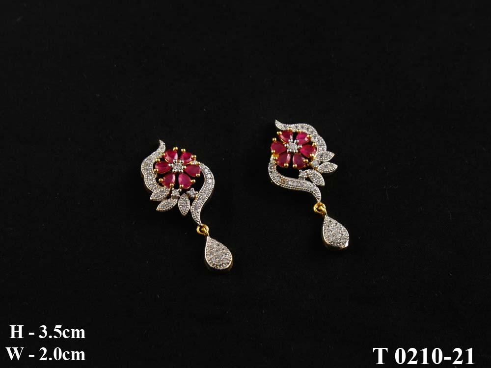Cz Colour Small Flower Sing Design Tops Ad Earrings - Cz Jewellery ...